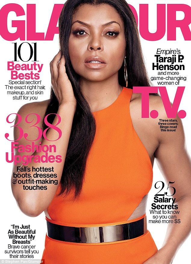 Cover stars:Glamour Magazine has hailed Taraji P. Henson (pictured), Gina Rodriguez and Emma Roberts this season's leading ladies giving each a separate cover of the October TV Issue