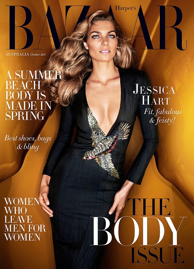 Cover girl: Jessica flaunted her ample cleavage in a fitted dress that featured a low plunging neckline which finished halfway down her torso on the magazine's cover