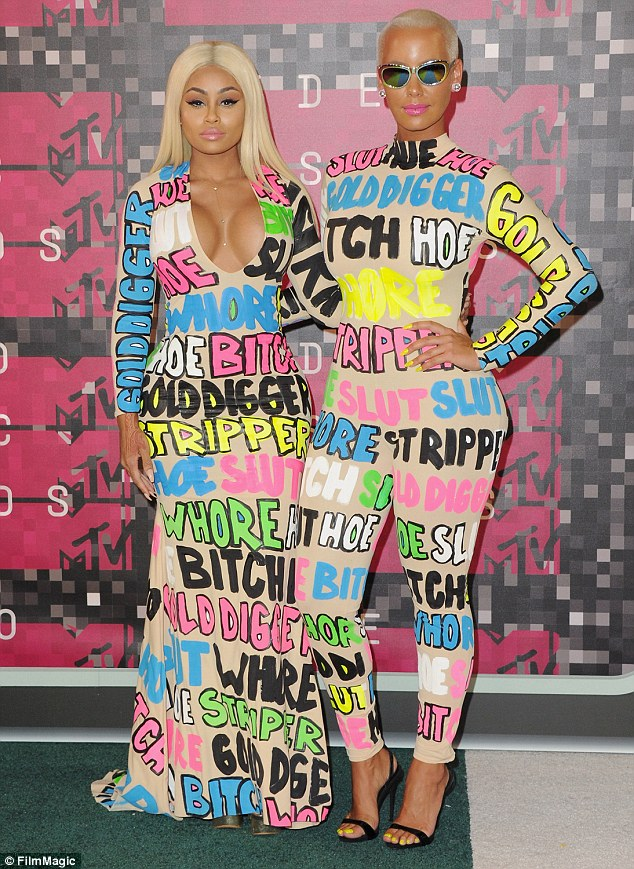 Making a statement: Amber (R) and close friend Blac Chyna (L) wore their insults as they walked the MTV Video Music Awards red carpet on August 30 in an effort to raise awareness