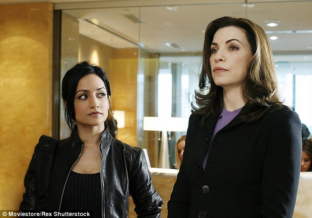 Extra: As well as starring in The Good Wife, Julianna has a number of lucrative endorsement deals - she is pictured here with Archie Panjabi, who played Kalinda on the show