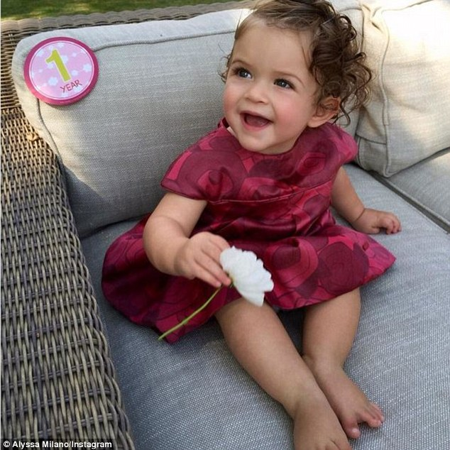 Birthday girl: The Melrose Place alum also posted a recent picture of the tot, captioned: 'My big girl! 1 year old!'