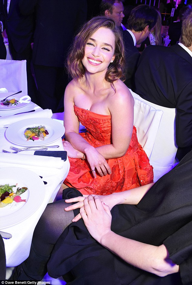 Sitting pretty: The actress tucked into dinner at the Royal Opera House before the ceremony, which was hosted by Samuel L Jackson, commenced