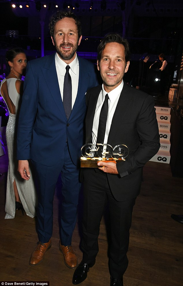 Buddies: The actor was awarded his prize by friend and his This Is 40 co-star Chris O'Dowd