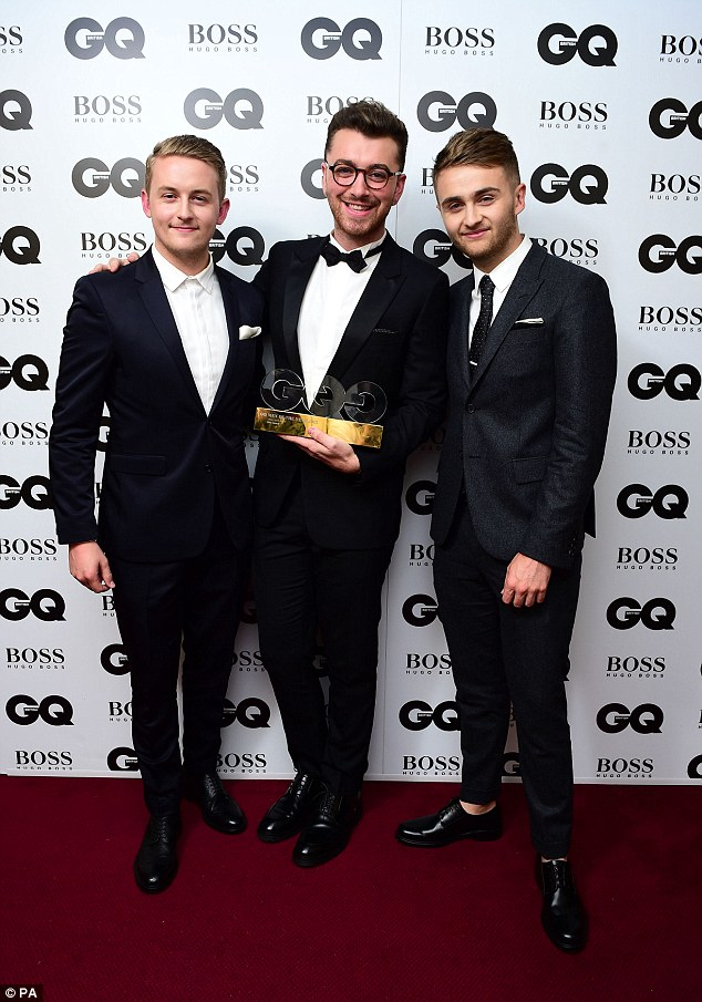 Talented trio: Disclosure's Guy and Howard Lawrence were on hand to congratulate Sam Smith