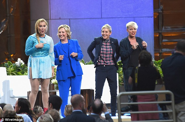 Let's get together! Amy Schumer, Hillary Clinton, and Pink joined Ellen on stage on Tuesday