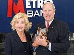 Vernon Hill Chairman and Founder of Metrobank, and wife Shirley, President of Interarch, Architecture and Branding and their dog Duffy ( Sir Duffield II)...----------------------------------------..©George Jaworskyj 2015..www.urbanimages.co.uk