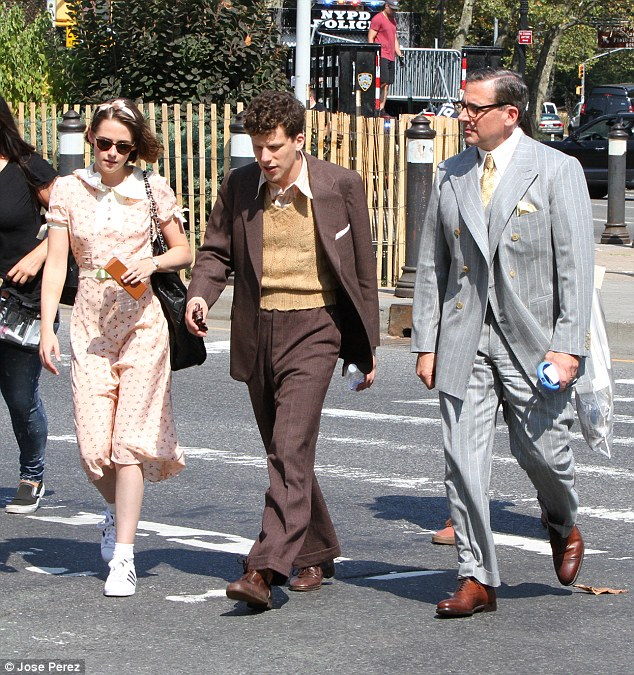 Forties squad: Kristen Stewart stepped out with co-stars Jesse Eisenberg and Steve Carell in New York on Tuesday afternoon