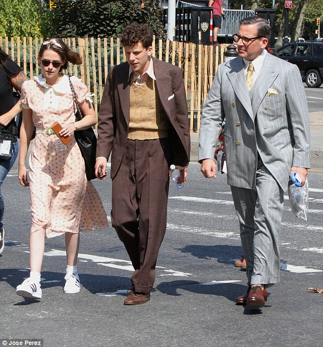 Suffering for their art: While men do not have to suffer through wearing hard to walk in heels, the two actors did have to walk in 90-plus degree heat in heavy suits
