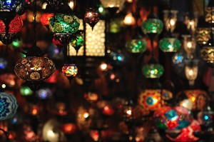 Image of coloured lamps in a bazaar