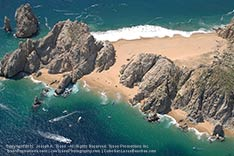 aerial view of lover's beach and divorce beach in cabo san lucas, mexico - 2012