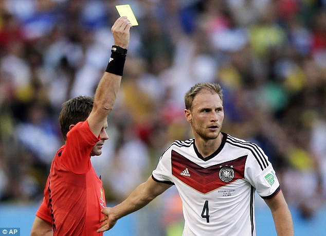 In the book: Howedes is cautioned by Nicola Rizzoli for the foul on Zabaleta