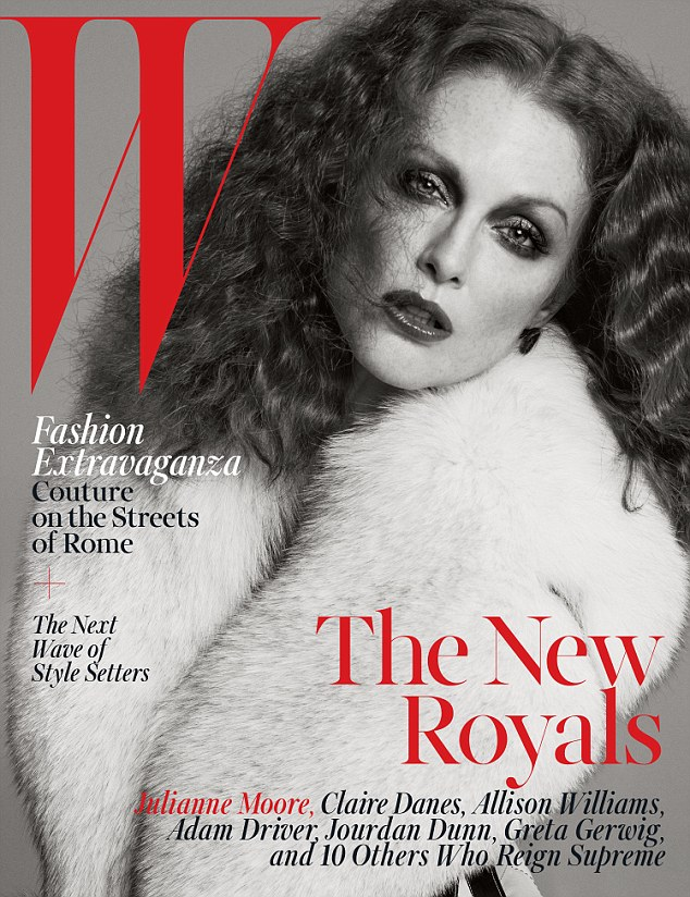 Bold and beautiful: Julianne Moore, 54, looks practically ageless in this classic and elegant look