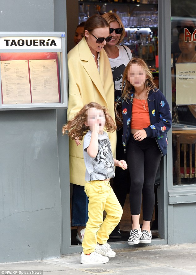 A friendly affair: The British model was joined close palStella McCartney and her children