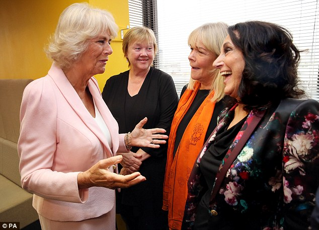 Fan: Camilla was delighted to meet Birds of a Feather stars Pauline Quirke, Linda Robson and Lesley Joseph