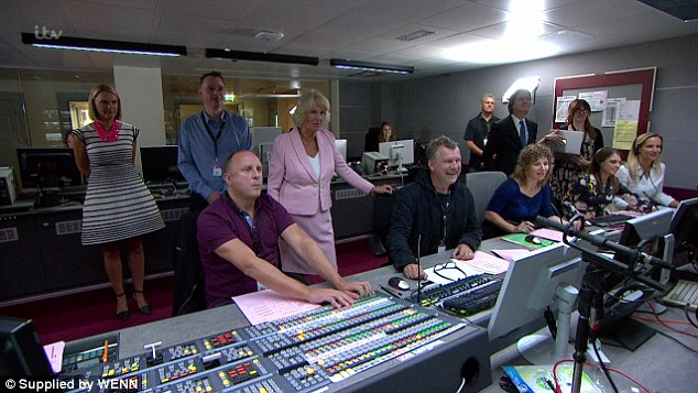 Control room: The Duchess watches the show from The Gallery with producers