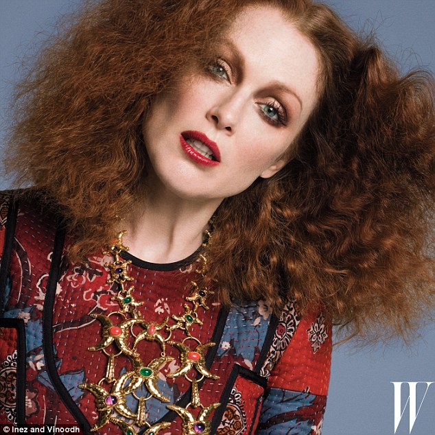 High style: The Still Alice actress, wearing a red patchwork dress, says her breasts were once too large to fit into a dress Tom Ford designed for her