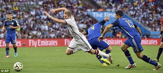 Throwing himself: Schurrle goes to ground in the Argentina area but no penalty is awarded