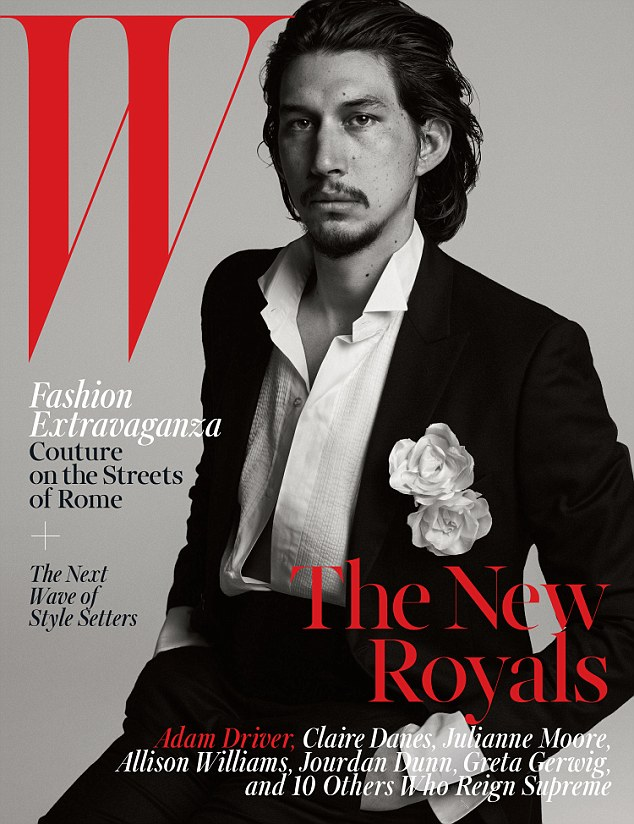 Drive me crazy: Girls actor Adam Driver looks handsome wearing an unbuttoned tuxedo shirt and rocking slicked-back hair