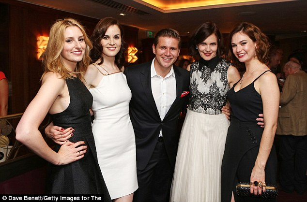 End of an era: Michelle along with other members of the Downton Abbey cast (L-R Laura Carmichael, Allen Leech, Elizabeth McGovern and Lily James) marked the end of filming in August at a swanky party