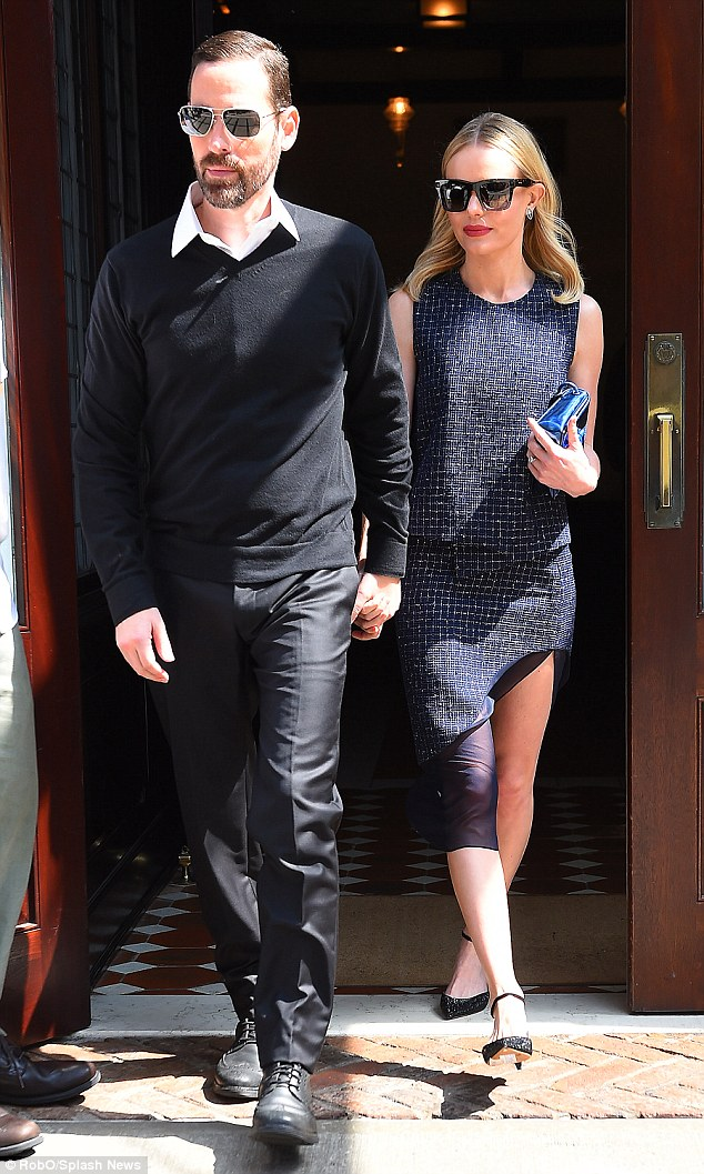 Glam duo: Bosworth seen with husband Michael Polish leaving the Greenwich Hotel in New York City