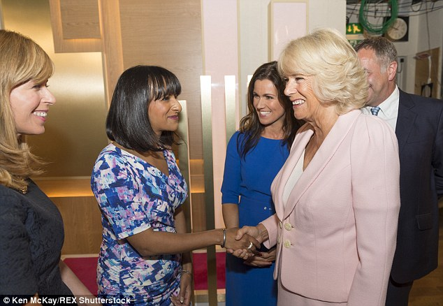Line up: She also met Ranvir Singh (centre) and Kate Garraway (right) during her studio tour