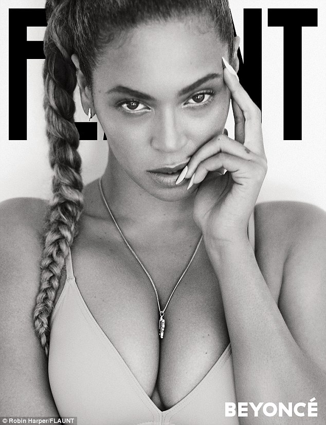 Work it: Beyonce strikes a pose for the new cover of the mag, stripping down to a nude bra