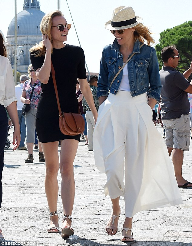 Earlier on: Diane joined fellow actress Elizabeth Banks for a walk, no doubt taking up the opportunity to do some sightseeing in the beautiful Italian city