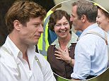 PIC BY GEOFF ROBINSON PHOTOGRAPHY 07976 880732.  Picture shows James Norton,( 3rd left)  Tessa Peake Jones (brown jumper)  Robson Green  (left) and Kacey Ainsworth (hat) on the set of the ITV drama Grantchester today Sept 9th.The crew were filming in the actual village of Grantchester which is just outside Cambridge.   Men Behaving Badly star Neil Morrissey was spotted with a greying MOUSTACHE today (Wed) as he filmed his first scenes in the village of Grantchester for ITV's crime drama. Morrissey, who is best known for his role as Tony in the popular sitcom, looked dapper in 1950's knitwear as he played the more dignified role of a grieving father. He is playing the part of Harding Redmond, a villager whose daughter is killed in suspicious circumstances. SEE COPY CATCHLINE Neil Morrissey films Grantchester