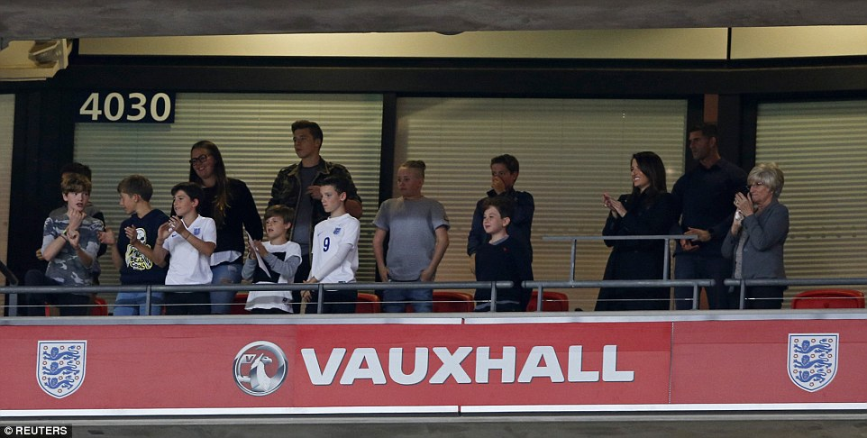 Romeo's siblings Brooklyn and Cruz were in the stands to get a close glimpse of their brother walking out the England national team