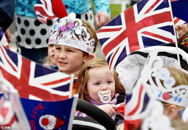 Ashford Gardiner, one, brought her dummy for the occasion while others made their own crowns and waved flags