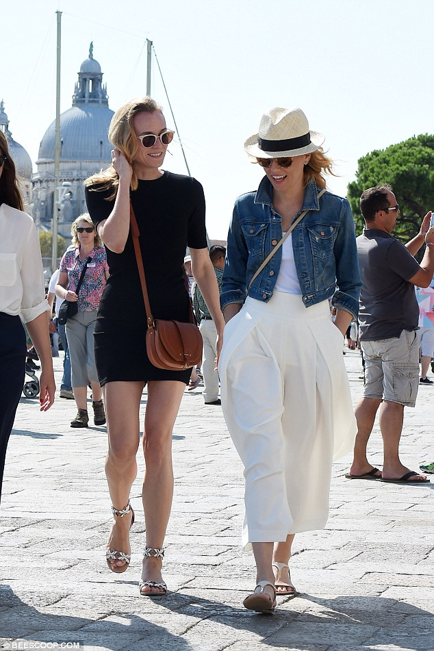 Modish mavens: The twosome were clad in gorgeous outfits - Elizabeth in billowing cream trousers, a drop top, denim jacket and a hat, while Diane opted for a leg-flashing LBD