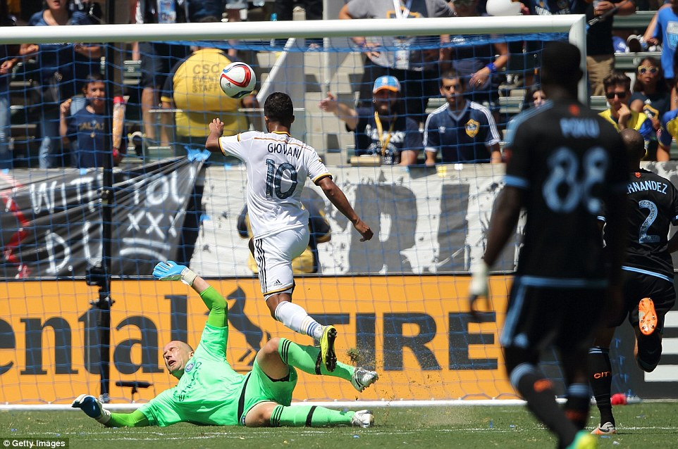 Former Tottenham misfit Giovanni dos Santos doubles LA Galaxy's lead with a cute lofted finish