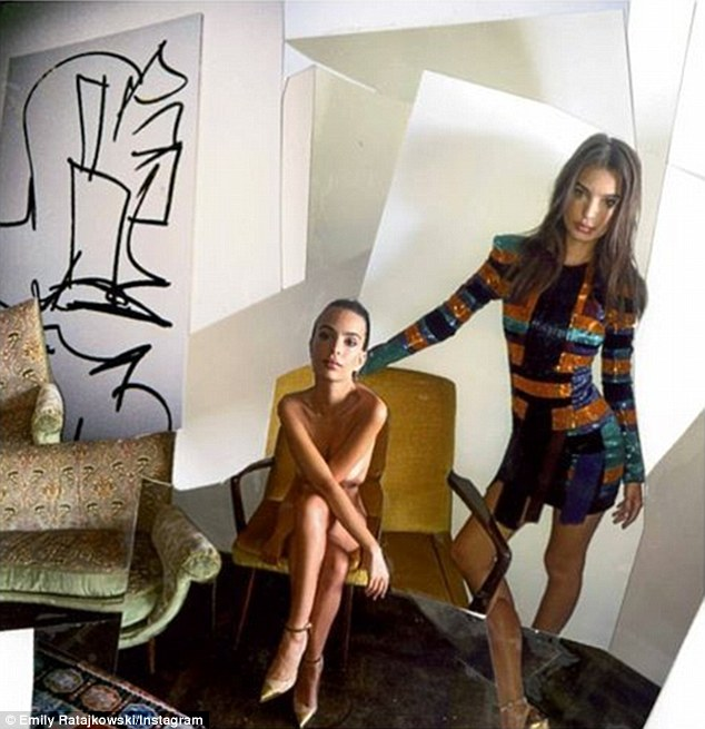 Interview Magazine: She shared a behind-the-scenes snap, which features her in the nude, while standing alongside a clone version of herself in a sparkling sequined Balmain dress