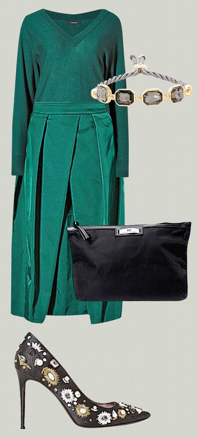 Wool mix jumper, £45, and skirt, £45, marksand spencer.com Embellished courts, £115, and bracelet, £19, dune london.com Day Birger pouch, £20, johnlewis.com