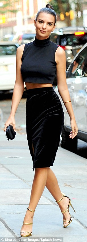 Just last week, the Blurred Lines video vixen rocked a very similar look, opting for a more revealing crop top and silk midi pairing