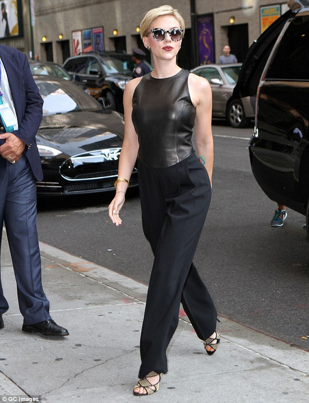 Looking good! Scarlett Johansson looked like she meant business as she arrived to The Late Show With Stephen Colbert in New York City on Wednesday