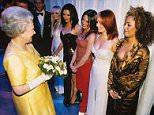 Mandatory Credit: Photo by Newspapers/REX Shutterstock (281989b).. Queen Elizabeth II meeting Emma Bunton, Victoria Adams, Mel C, Geri Halliwell, Mel B.. ROYAL VARIETY PERFORMANCE, LONDON, BRITAIN - 1997.. ..