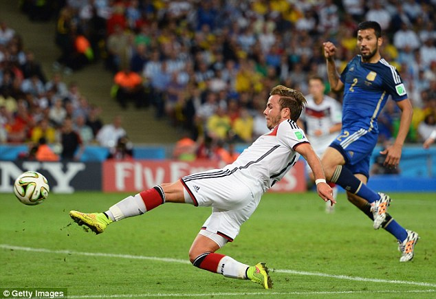 Moment of truth: Mario Gotze scores the winner for Germany in extra-time to win the World Cup