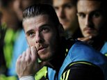 Spain's goalkeeper David De Gea sits on the bench before the start of their Euro 2016 qualification soccer match against Slovakia at Carlos Tartiere stadium in Oviedo, Spain, September 5, 2015. REUTERS/Eloy Alonso