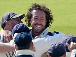 LONDON, ENGLAND - SEPTEMBER 09:  Ryan Sidebottom of Yorkshire is mobbed by team mates after claiming his fifth wicket by bowling Tim Murtagh of Middlesex during the LV County Championship match between Middlesex and Yorkshire at Lord's Cricket Ground on September 9, 2015 in London, England.  (Photo by Mike Hewitt/Getty Images)