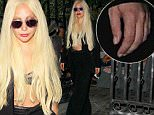 **NO Australia, New Zealand** West Hollywood, CA - Lady Gaga gets some help from her bodyguard as she heads out from Pump Restaurant Lounge in West Hollywood.\nAKM-GSI        September 8, 2015\n**NO Australia, New Zealand**\nTo License These Photos, Please Contact :\nSteve Ginsburg\n (310) 505-8447\n (323) 423-9397\n steve@akmgsi.com\n sales@akmgsi.com\n \n or\n \n Maria Buda\n (917) 242-1505\n mbuda@akmgsi.com\n ginsburgspalyinc@gmail.com