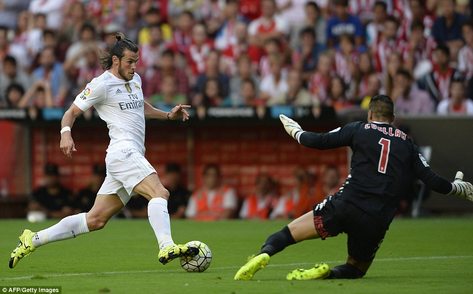 Real Madrid star Gareth Bale went close to opening the scoring for the La Liga side but he failed to testSporting Gijon keeper Ivan Cuellar