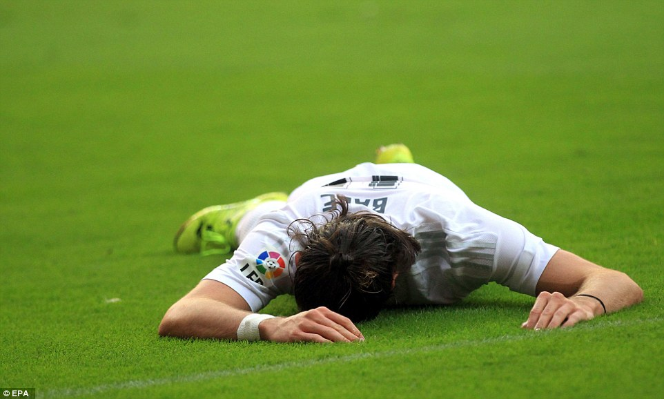 It was a frustrating evening for Madrid and Bale lies on the pitch after the La Liga side missed yet another chance to score