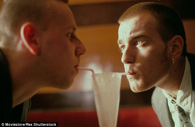 Spud and Renton share a tender moment over a milkshake in a still from the film