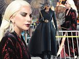 """Countness Lady Gaga dress in all black for a beach carnival scene in Santa Monica for """"American Horror Story Hotel"""" with co star Wes Bentley. The singer walk around the sand with black heels in a scorching hot day but had help with umbrellas and water fan for the crew.\nFeaturing: Lady Gaga\nWhere: Santa Monica, California, United States\nWhen: 10 Sep 2015\nCredit: Cousart/JFXimages/WENN.com"""