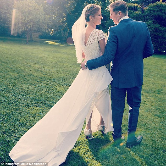 'With mirth and laughter let old wrinkles come': Millie Mackintosh posted a heartfelt message alongside a sweet throwback snap as she and Professor Green celebrated their second wedding anniversary on Thursday