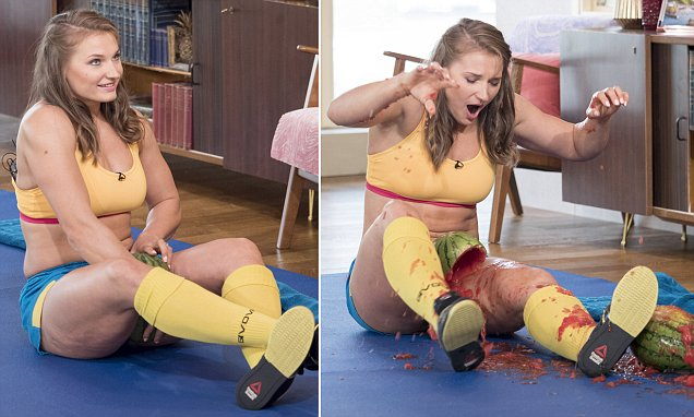 Strong woman astounds onlookers by crushing three huge watermelons between her THIGHS in