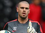 Victor Valdes of Manchester United warms up prior to the Barclays Premier League match between Hull City and Manchester United at KC Stadium on May 24, 2015 in Hull, England.  (Photo by Matthew Lewis/Getty Images)