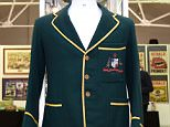 The first blazer Sir Donald Bradman wore as captain is expected to reach $70,000-$90,000 at Mossgreen Auctions in Melbourne, Monday, Sept. 7, 2015. (AAP Image/Tracey Nearmy) NO ARCHIVING