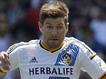 CARSON CA - AUGUST 9: Steven Gerrard #8 of the Los Angeles Galaxy drives the ball against Brad Evans #3 of the Seattle Sounders during the first half at StubHub Center August 9, 2015, in Carson, California. (Photo by Kevork Djansezian/Getty Images)